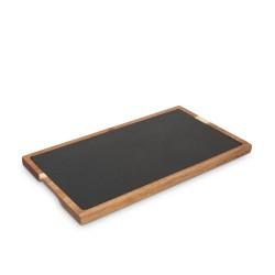 Piatto ardesia con legno 32,5x26 cm