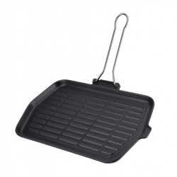 Grill Plate with Handle - Cast Iron 23x36 cm.