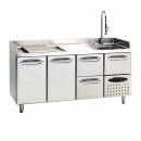 Refrigerated counter for fish with 2 doors and 3 drawers