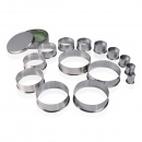 Plain Tin Pastry Cutters 14 Pcs PIAZZA
